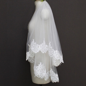 Image 5 - 2020 Nieuwe Twee Lagen Pailletten Lace Edge Korte Bruiloft Sluier Met Kam 2 Lagen 0.9 Meter Tule Bruidssluier Voor trouwjurk