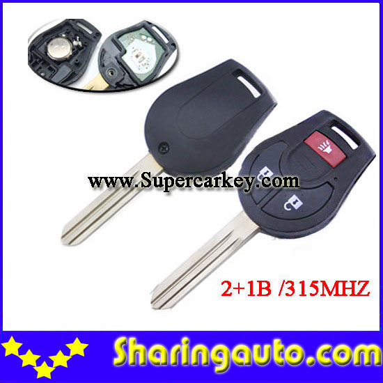 Free shipping 3 button New Replacement Remote Headed Key Keyless Entry Ignition Car Fob Uncut  for Nissa (1piece)
