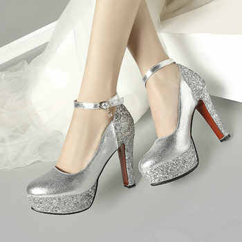 Red Black White Gold Silver Block High Heels Women Platform Pumps Party Wedding Bride Ladies Shoes Sequin Chunky Heels 2019