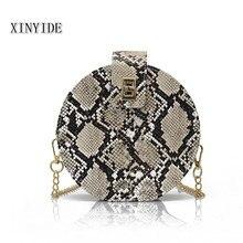 New Fashion Casual Backbag Retro Python Small Round Bag Turn Lock Chain Shoulder Slung Female Bag