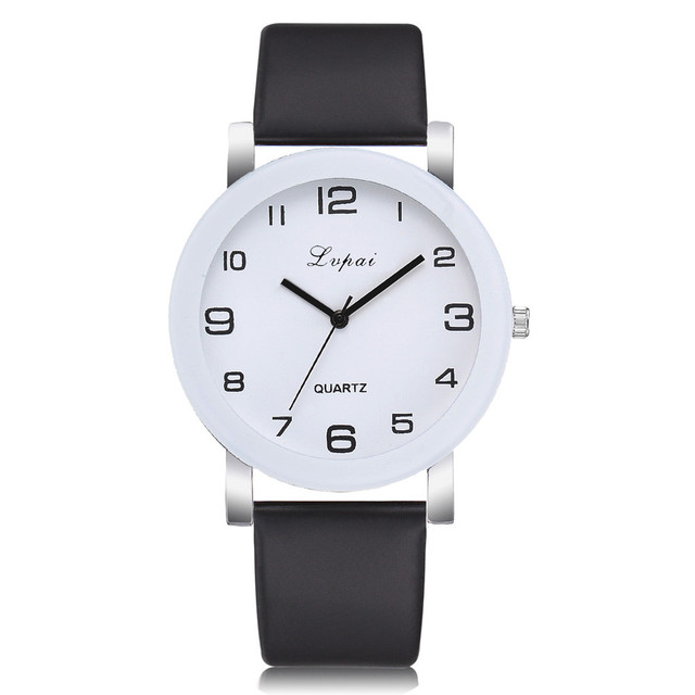 Simple Style Watches Men Women Leather Strap Quartz-watch Fashion Black White Wristwatches Quartz Watch Gifts zegarek damski 5N