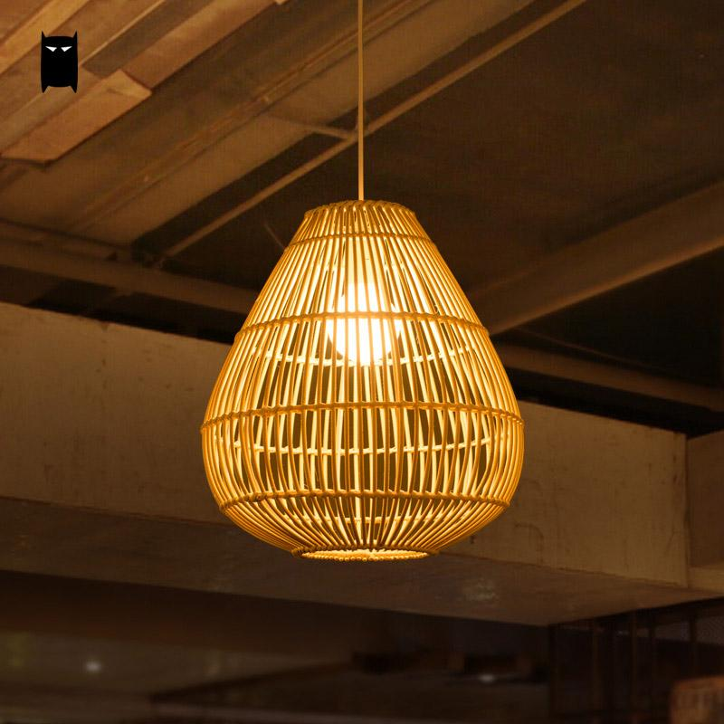 Wicker Rattan Drip Shade Pendant Light Fixture Rustic Asian Country Japanese Creative Hanging Lamp Luminaria Dining Table Room big bamboo wicker rattan wave shade pendant light fixture rustic japanese lamp suspension luminaire indoor dining table room