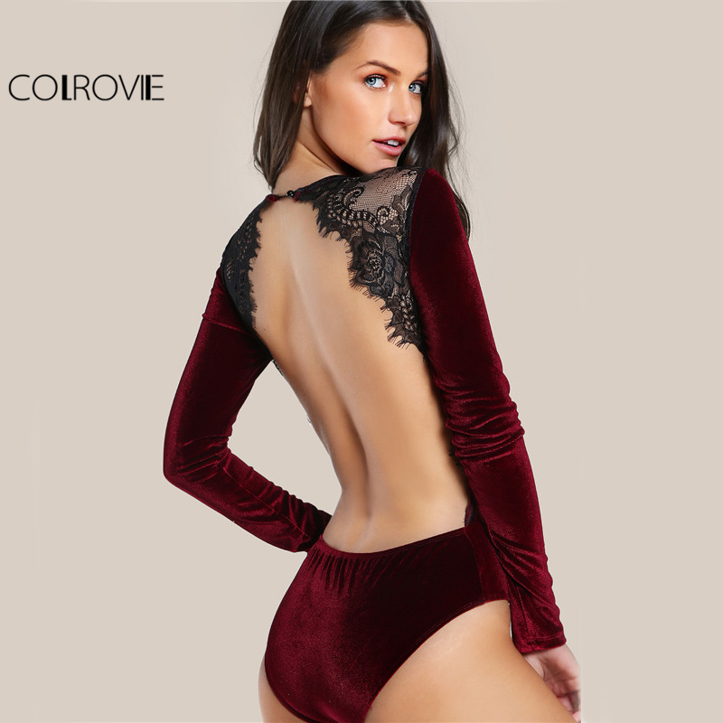 COLROVIE Backless Velvet Lace Bodysuit Burgundy Elegant Women Applique Long Sleeve Bodysuit Sexy Vintage Party Bodysuit