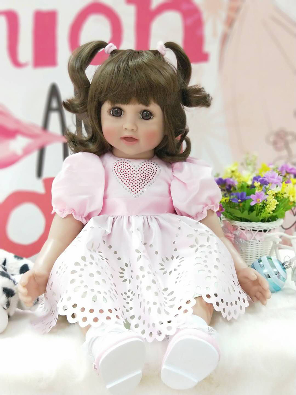 "Здесь продается  Pursue 24""/60 cm Adorable Curly Hair Soft Silicone Reborn Toddler Princess Girl Baby Doll Toys for Children Girls Birthday Gift  Игрушки и Хобби"