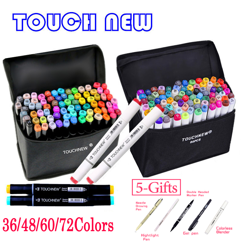 TOUCHNEW 36 48 60 72 168Colors Dual Head Art Markers Alcohol Based Sketch Marker Pen For Drawing Manga Design Supplies sta alcohol sketch markers 60 colors basic set dual head marker pen for drawing manga design art supplies