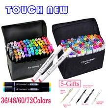 Touchnew 36 48 60 72 168 Цвета Dual Head Арт-фломастеры на спиртовой основе Эскиз маркер для рисования Manga Дизайн поставки