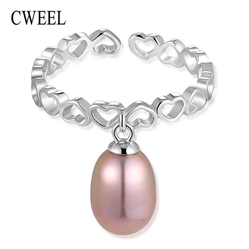 Cweel 925 стерлингов Серебряные кольца для Обувь для девочек розовый Обручение кольцо Для женщин звон кольцо с сердцем кулон Кольца женский шар...