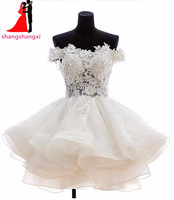 2016 New Arrival Short Organza Homecoming Dresses Strapless Short Sleeves Beautiful Flowers Shiny Beaded Ruched Party