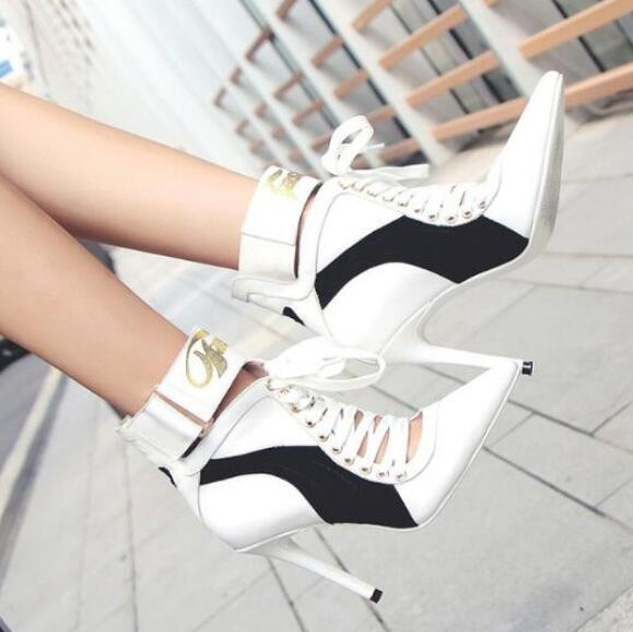 Botas Mujer Women Boots 2019 Runway High Heels Point Toe Lace Up Buckle Sewing Ladies Shoes Woman Cut-outs botines