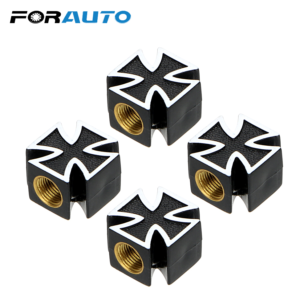 4pcs/lot Car Tire Air Valve Cap Covers Car Wheel Tyre Stem Air Caps Cross Style For Bicycle Motorcycle Car Styling Universal