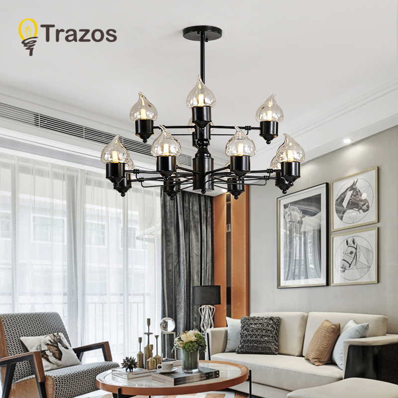 TRAZOS Modern Led Chandelier Lights For Living Room Bedroom Candle glass Indoor Ceiling Chandelier Lamp Fixtures chandeliers lights led lamps e27 bulbs iron ceiling fixtures glass cover american european style for living room bedroom 1031