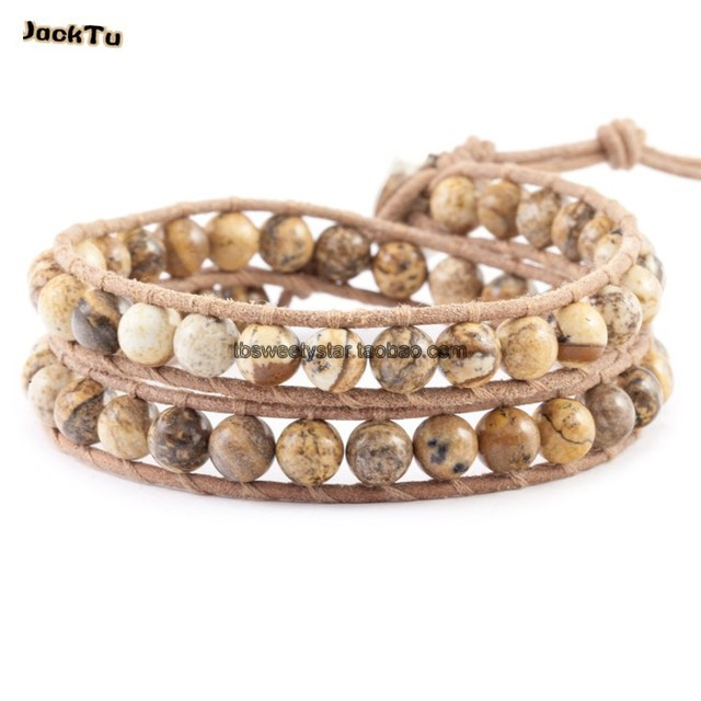 JACK TU 6mm facted pictures stone leather double wrap bracelet
