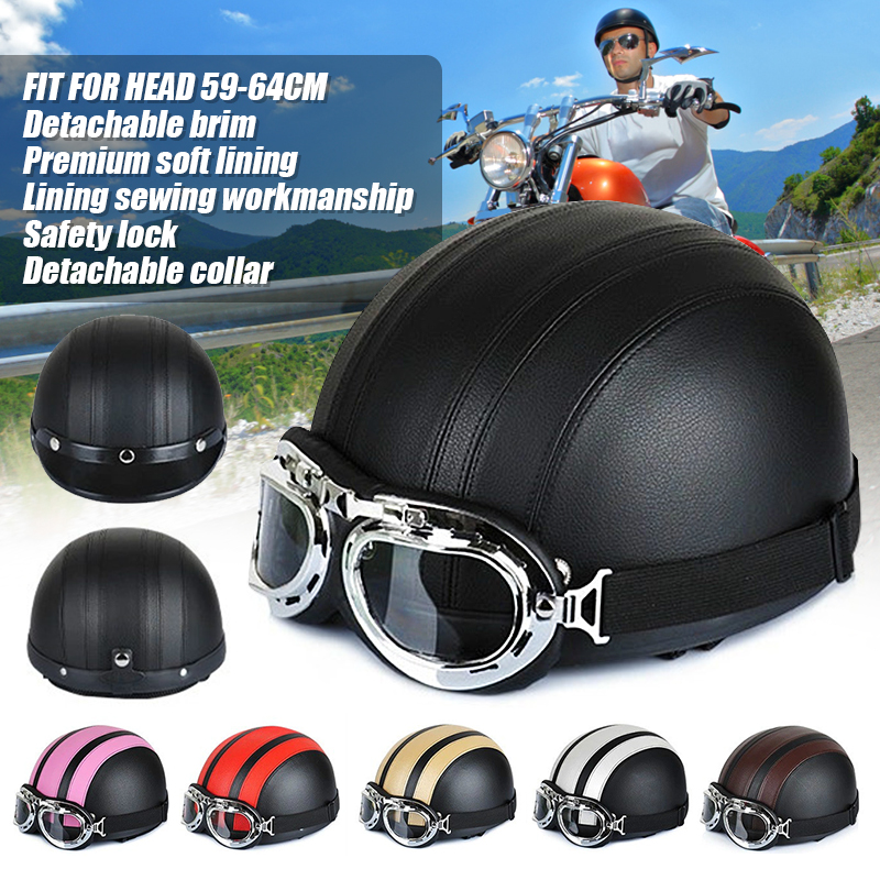Motorcycle Parts Fashion Unisex E-Bike Moto Scooter Helmet for Men Women Summer Helmets with High Quality Goggles Half HelmetMotorcycle Parts Fashion Unisex E-Bike Moto Scooter Helmet for Men Women Summer Helmets with High Quality Goggles Half Helmet