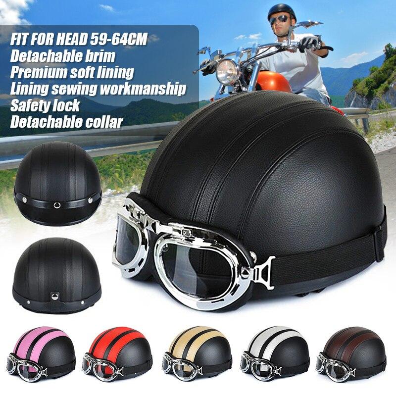 17737d3552 Piezas de la motocicleta moda Unisex e-bike Moto Scooter casco para hombres  mujeres verano cascos con gafas de alta calidad media casco