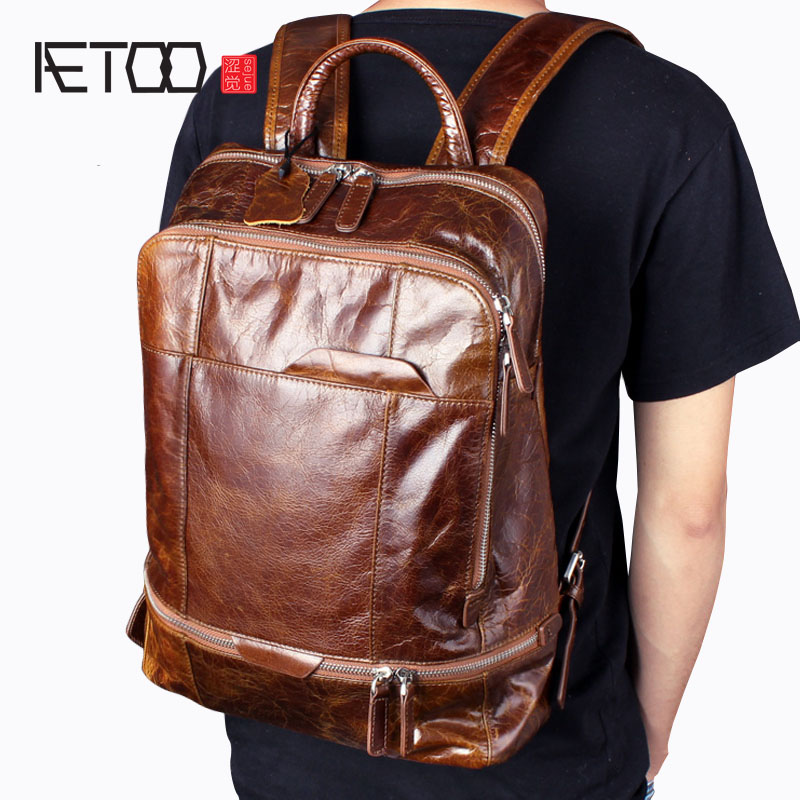 AETOO Oil Wax Belt Shoulder Leather Genuine Male Cowboy Backpack Casual Retro Travel Bag Computer Bag Tide aetoo oil wax leather leather europe and america retro men s 8 inch summer travel simple shoulder diagonal package