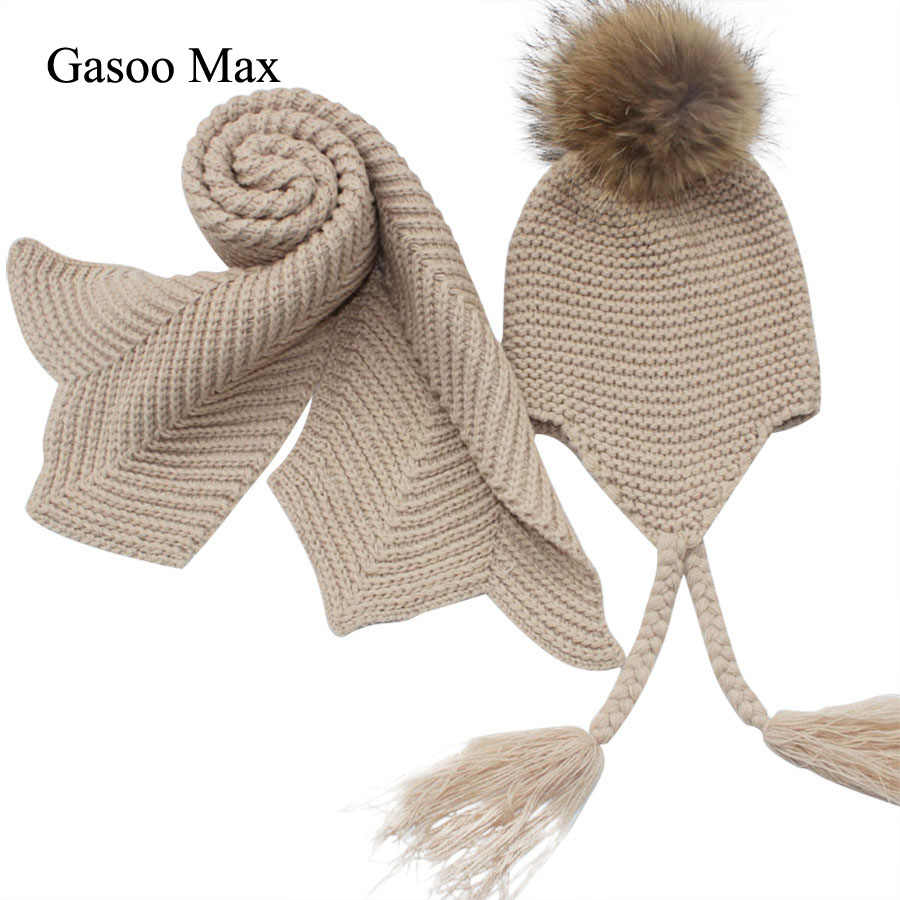 27faef09f6d Kids knitted Scarf and Hat Set Luxury Winter Warm Crochet Hats and scarves  with Real fur