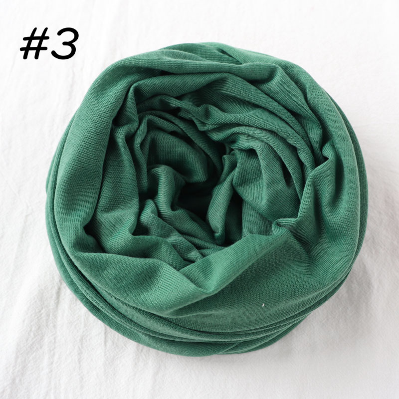 Один кусок хиджаб шарф Макси шали шарфы женские мусульманские хиджабы мусульманская леди палантин splid однотонное Джерси хиджаб 70x160 см - Цвет: 3 green