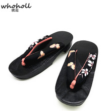 d46ebbffa4146 WHOHOLL Japanese Clogs Summer Sandals Women Flip Flops for Female Wooden  Shoes Cosplay Shoes Bathroom Antiskid