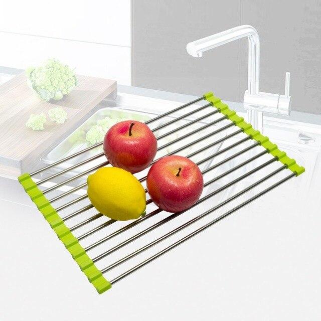 kitchen vegetable drainer shelf roll up stainless steel sink dryer Vegetable Holder for Kitchen