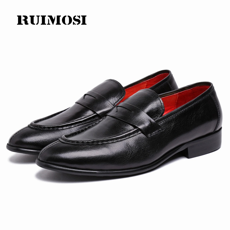 RUIMOSI Luxury Brand Round Toe Man Casual Shoes Genuine Leather Male Loafers Designer Brand Comfortable Men's Flats XE87