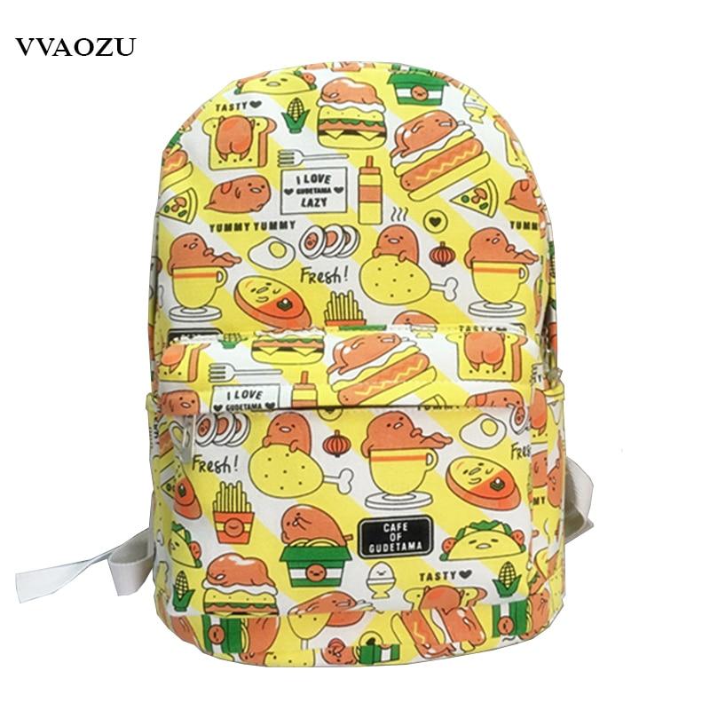 Japan Cartoon Gudetama Harajuku Backpack Funny Lazy Egg Yolk Canvas Rucksack Boys Girls Travel School Shoulder Bag Bagpack кушон holika holika gudetama lazy