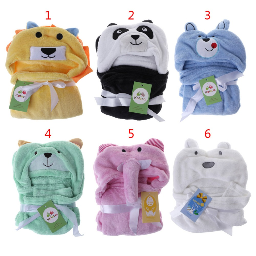 Cartoon Cute Blanket Newborn KidsHoodie Wipe Cloak Animal Hat Hooded Bathing Suit Soft Comfortable Fleece Bath Towel