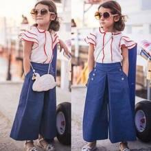 3c40ab68f Nuevo estilo muchacha del cabrito ropa del bebé camiseta de la manga de la  llamarada + Denim Pantalones largos pantalones vaquer.