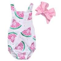 Sommer Baby Mädchen Kleidung Ärmellose Wassermelone Säuglingsspielanzug Backless Halter Overall + Stirnband 2 stücke Outfit Sunsuit