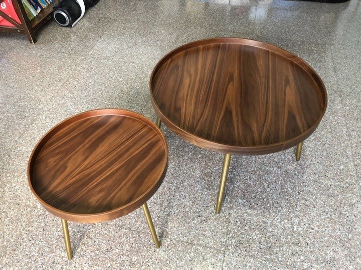 100x pack big 76cm small 50cm round plywood coffee table with walnut veneer golden legs or black option