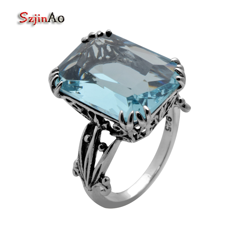 Szjinao Wholesale fashion jewelry antique ring high quality blue stone ring cz female wedding ring 925 sterling silver ring