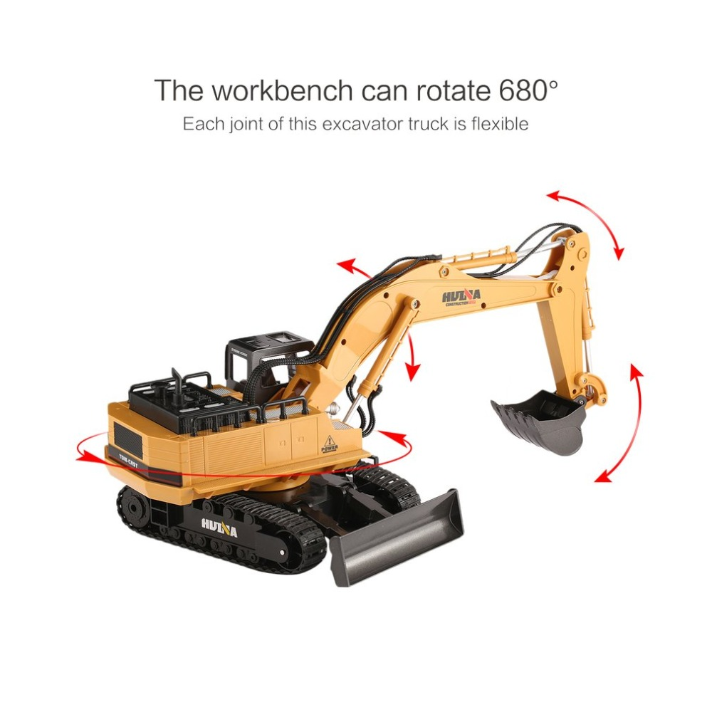 HUINA TOY excavator 1510 2.4G 1/16 11CH Alloy RC Excavator Truck Engineering Construction Vehicle with 680' Rotation Sound Light huina 1510 rc excavator car 2 4g 11ch metal remote control engineering digger truck model electronic heavy machinery toy