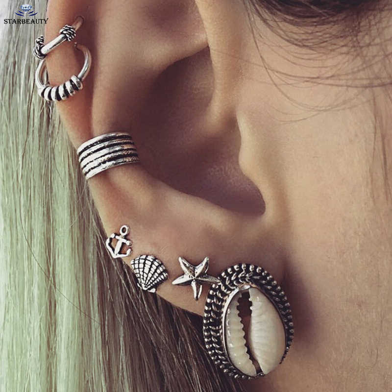 7Pcs/Lot Boho Shell & Tibetan Silver Tragus Hoop Helix Piercings Cartilage Tragus Daith Earring Studs Piercing Silver Jewelry