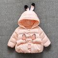 Женский ребенка кроличьи уши с толщиной хлопка-ватник 1-2 лет ребенок 2016 детская одежда куртка 4-6-7-9-13-18 месяц пальто