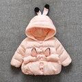 Bebé hembra orejas de conejo con chaqueta gruesa de algodón acolchado 1-2 años de edad del bebé desgaste 2016 de los niños chaqueta 4-6-7-9-13-18 mes de la capa