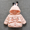 Female baby rabbit ears with thick cotton-padded jacket 1-2 years old baby 2016 children's wear  jacket 4-6-7-9-13-18 month coat