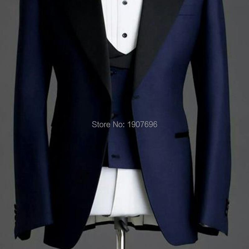 Navy Blue Slim fit Man Suits for Wedding Groom Tuxedos Black Peaked Lapel 3 Piece Male Suit Set Jacket Pants Vest Formal Style