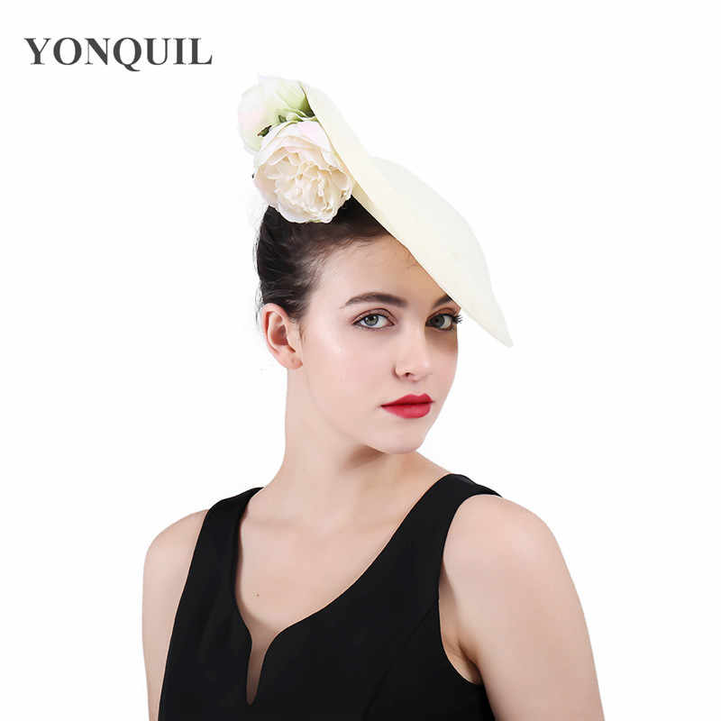 beige imitation linen wedding hair accessories kentucky derby fascinator headwear High quality nice colorful cocktail hat SYF406