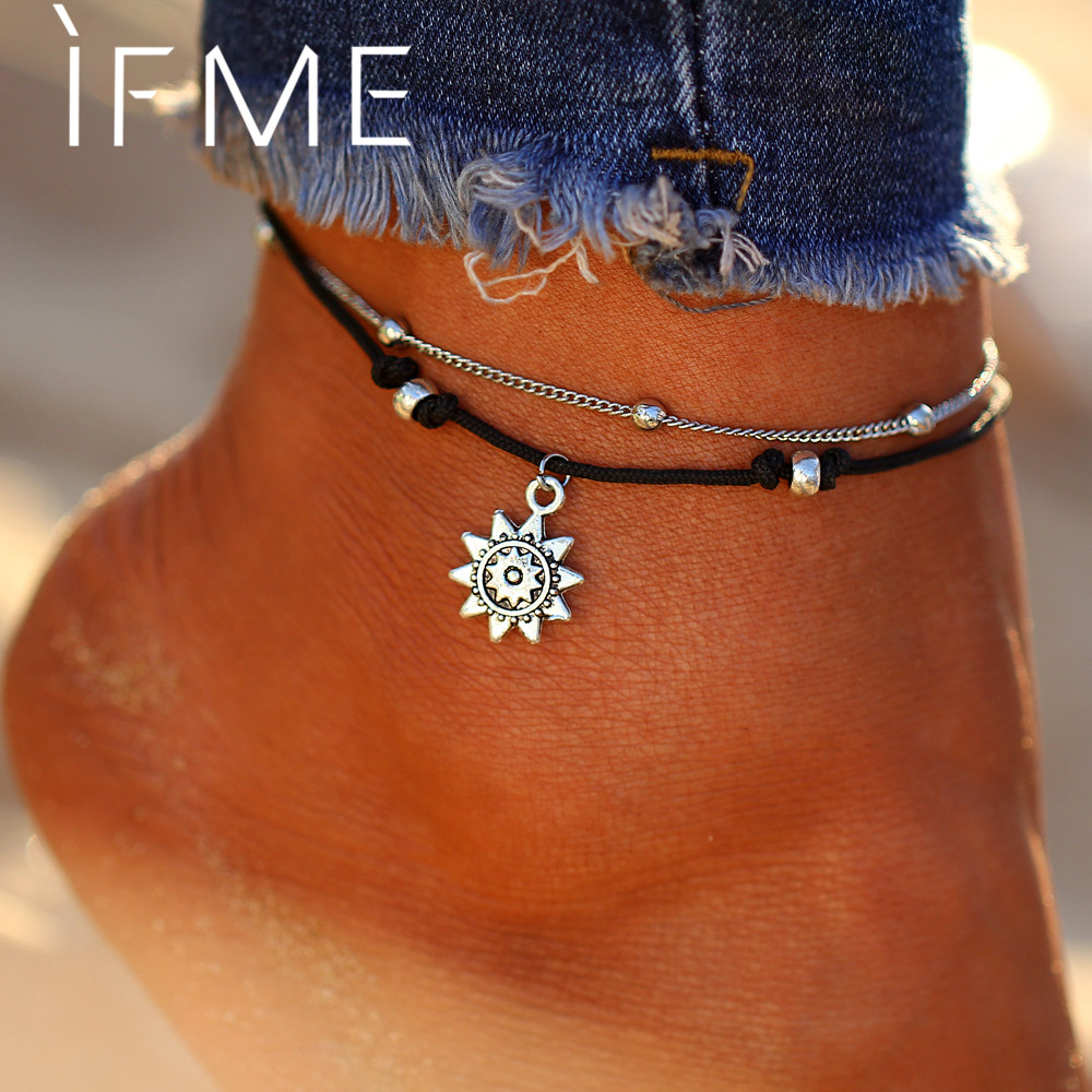 IF ME Vintage Multiple Layers Charms Anklets For Women Silver Color Sun Shape Beads Summer Female Foot Chain Jewelry Party Gifts