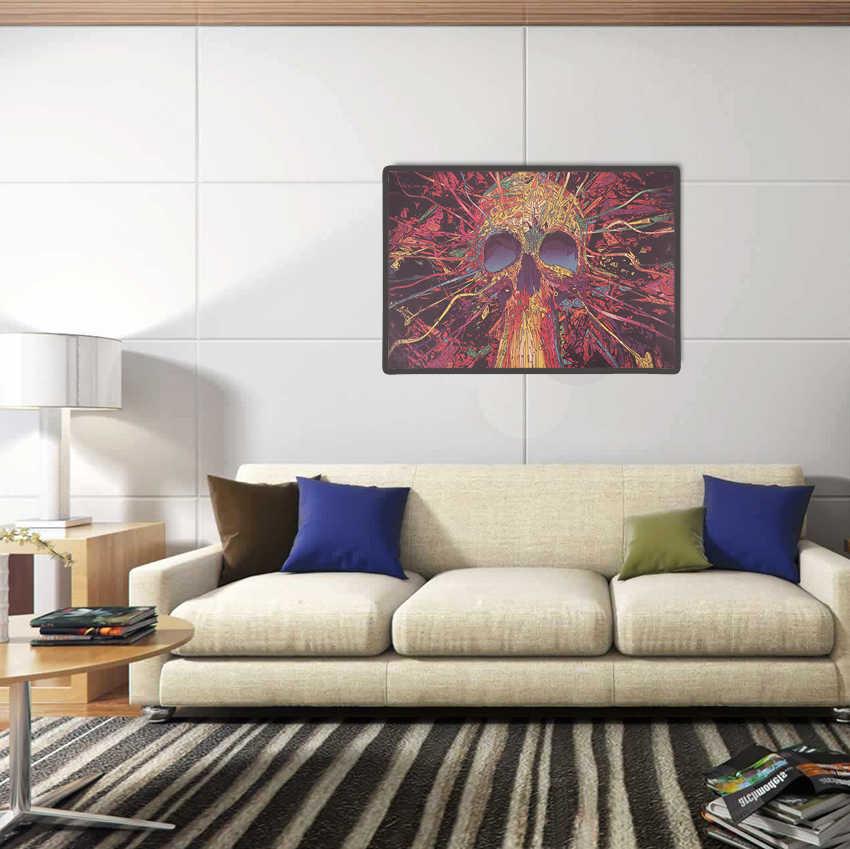 AMARRAR LER Colorido Cabeça Crânio Retro Kraft Papel Poster Bar Cafe Pintura Decoração de Casa Adesivos de Parede 50.5X35cm