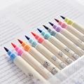 10 шт.  10 видов цветов  акварельная живопись  мягкая кисть  маркер  ручка  набор  канцелярские товары для рисования  школьные принадлежности дл...