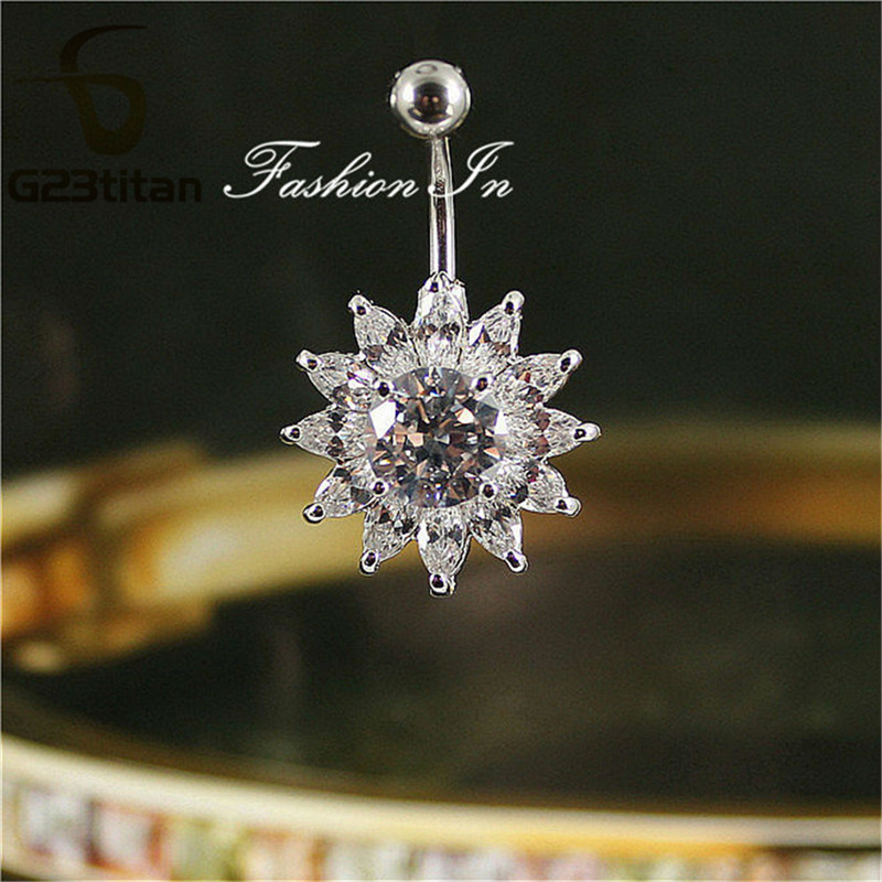 G23titan Big Crystal Flower Belings Rings Hypoallergenic 14G G23 - Κοσμήματα μόδας - Φωτογραφία 2