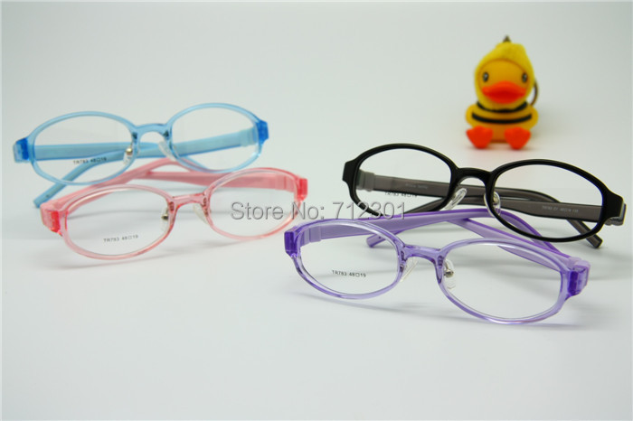 Flexible Kids Eyeglasses Size 48mm No Screw Silicone TR90, Boys Girls Glasses Switchable Temples, Optical Children Glasses