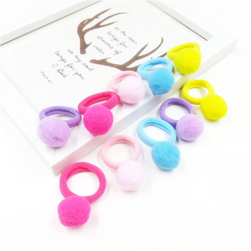 10PCS/Pack Lovely Solid Small Ball Hair Ring For Girls Handmade Child Elastic Hair Bands Scrunchy Clip Hair Accessories For Kid