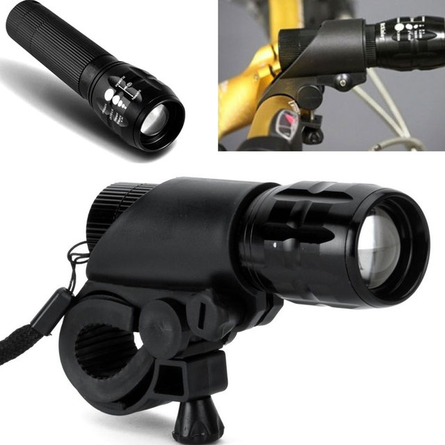 New 7W Q5 LED 2000lm Aluminum Waterproof IP6 AAA Battery with Holder Front Cycling Bike Bicycle Lights Lamps Lantern Flashlight