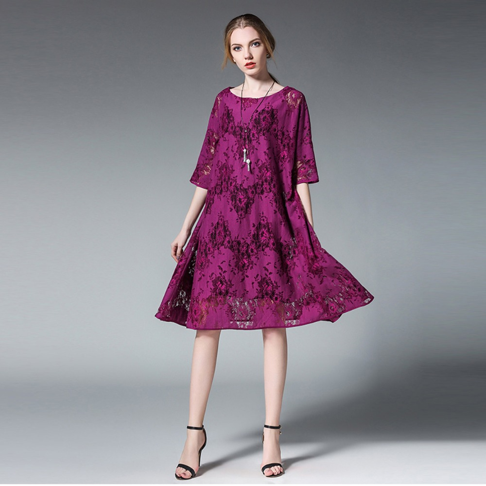 Aliexpress.com   Buy Euramerican women Plus size dresses fashion loose Lace  dress two piece casual crew neck High waist Elegant dress short sleeve from  ... f86f5ae1a