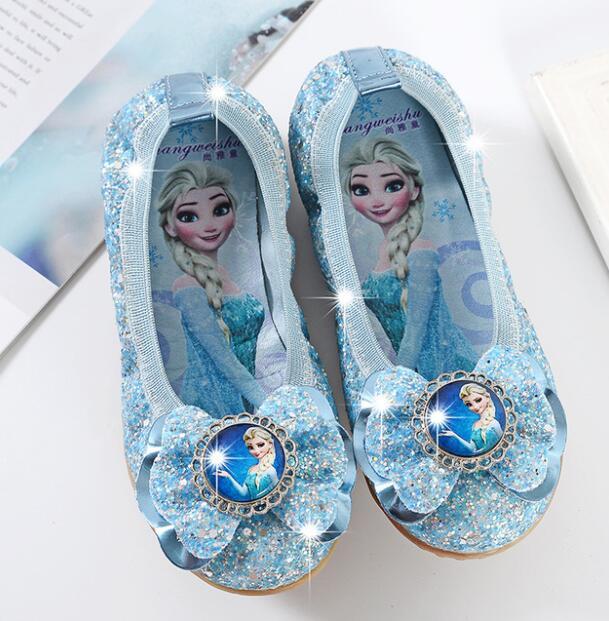 New Elsa Girls Ballet Flats Dance Party Glitter Children Shoes Bling Princess sneaker 3-14 years Kids Shoe Christmas gift