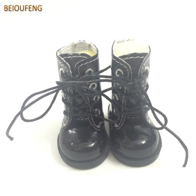 BEIOUFENG One Pair 1/6 BJD Doll Shoes for Fabric Dolls,Causal Sneakers Shoes 5CM PU Leather Doll Boots for Dolls Accessories