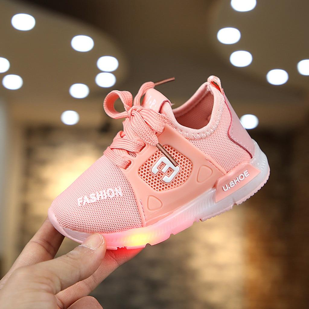 Boys Girls Flashing Light Casual Kids Shoes For Baby Girl LED Sneaker Children Lightweight Luminous Spring Flashing Mesh Shoes