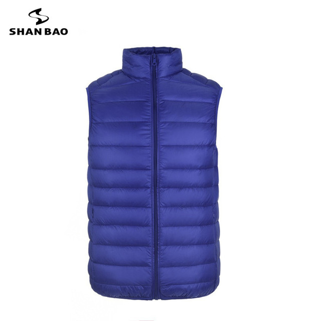 Men's down vest high-quality solid color zipper 2017 winter new brand men's fashion thin paragraph warm down jacket