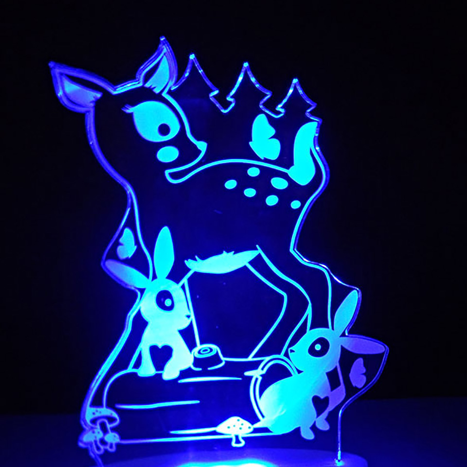 3D Home Decor Night Light 7 Colors Visual Animal Small Deer Little Rabbit Moulding Desk Lamp Led Bedside Sleep Cartoon Usb Light